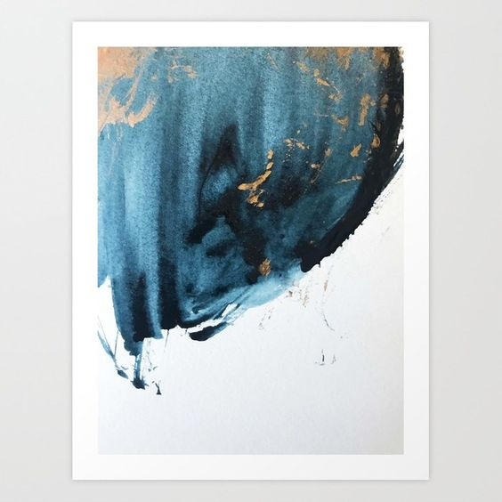 Sapphire and Gold Abstract Art Print - Society 6