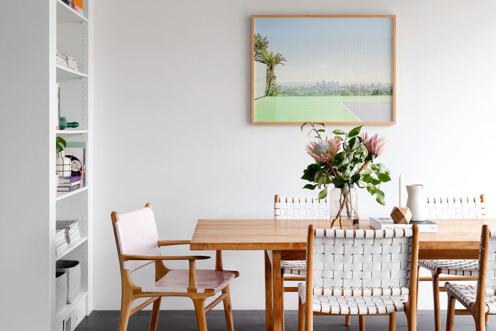 Modern Minimalist  Home in Melbourne | Dwelling Collective | Barnaby Lane Leather Dining Chairs