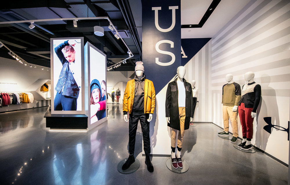 UAS retail experience inside Boston's flagship Under Armour store