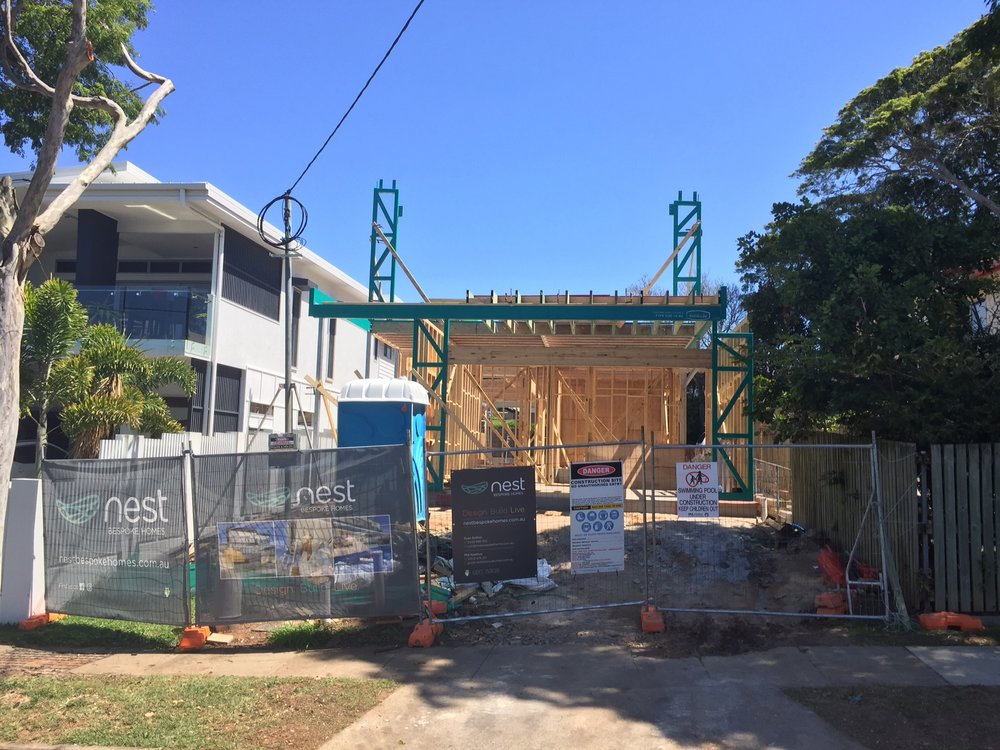 ABOVE: LOWER LEVEL STEEL & FRAMING UP ON A NEW NEST BUILD ON THE MANLY TERRACES.