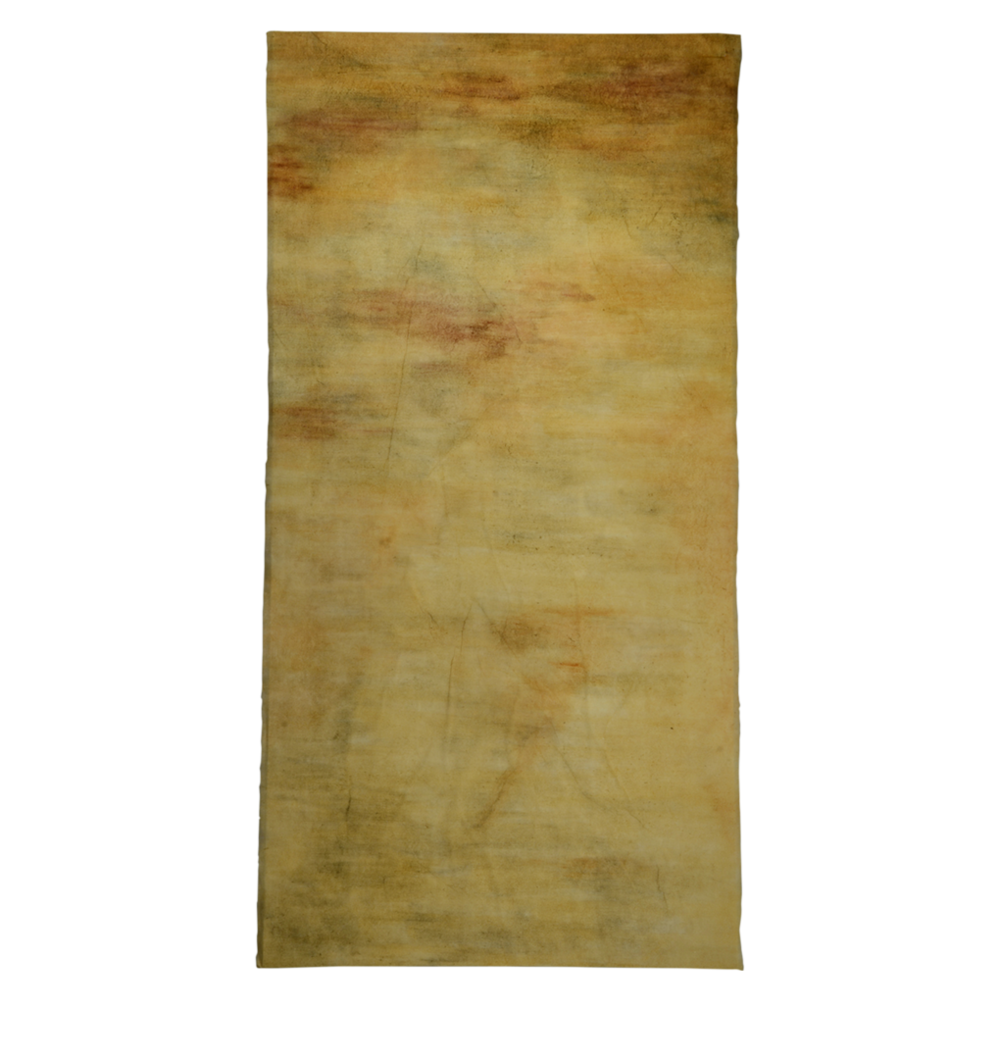 Illumine I , mulberry paper, sea water, soil, white clay, slate pigment, woad, yellow, orange and red ochre, 2015