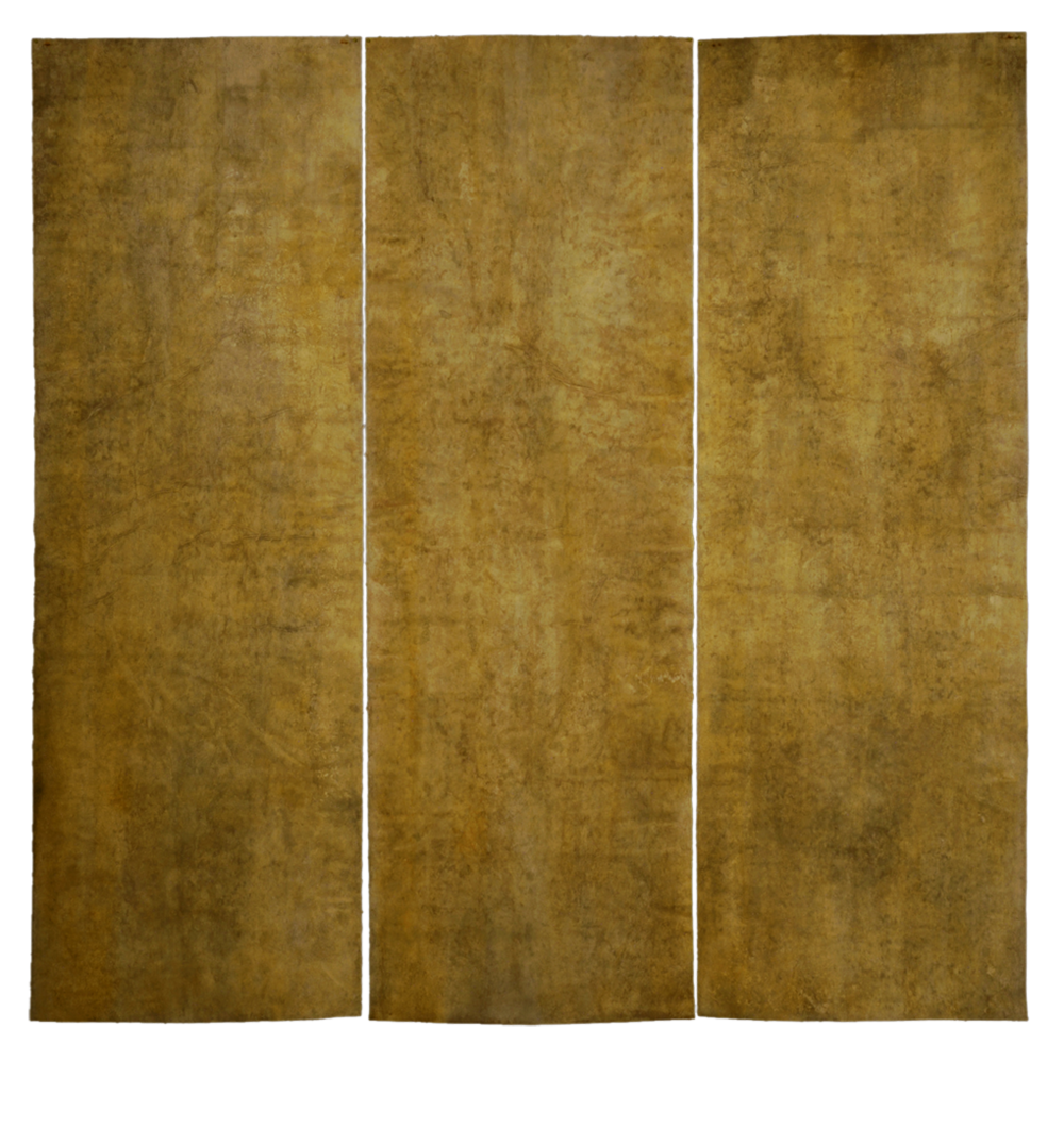Elements: Air,  mulberry paper, sea water, soil, light yellow ochre, 2014