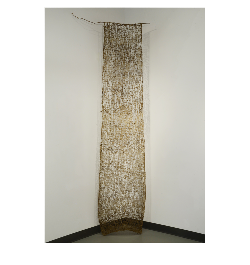 "Indra's Net , 120"" x 28"", raw silk, soil, earth pigments, organic materials, sea water"