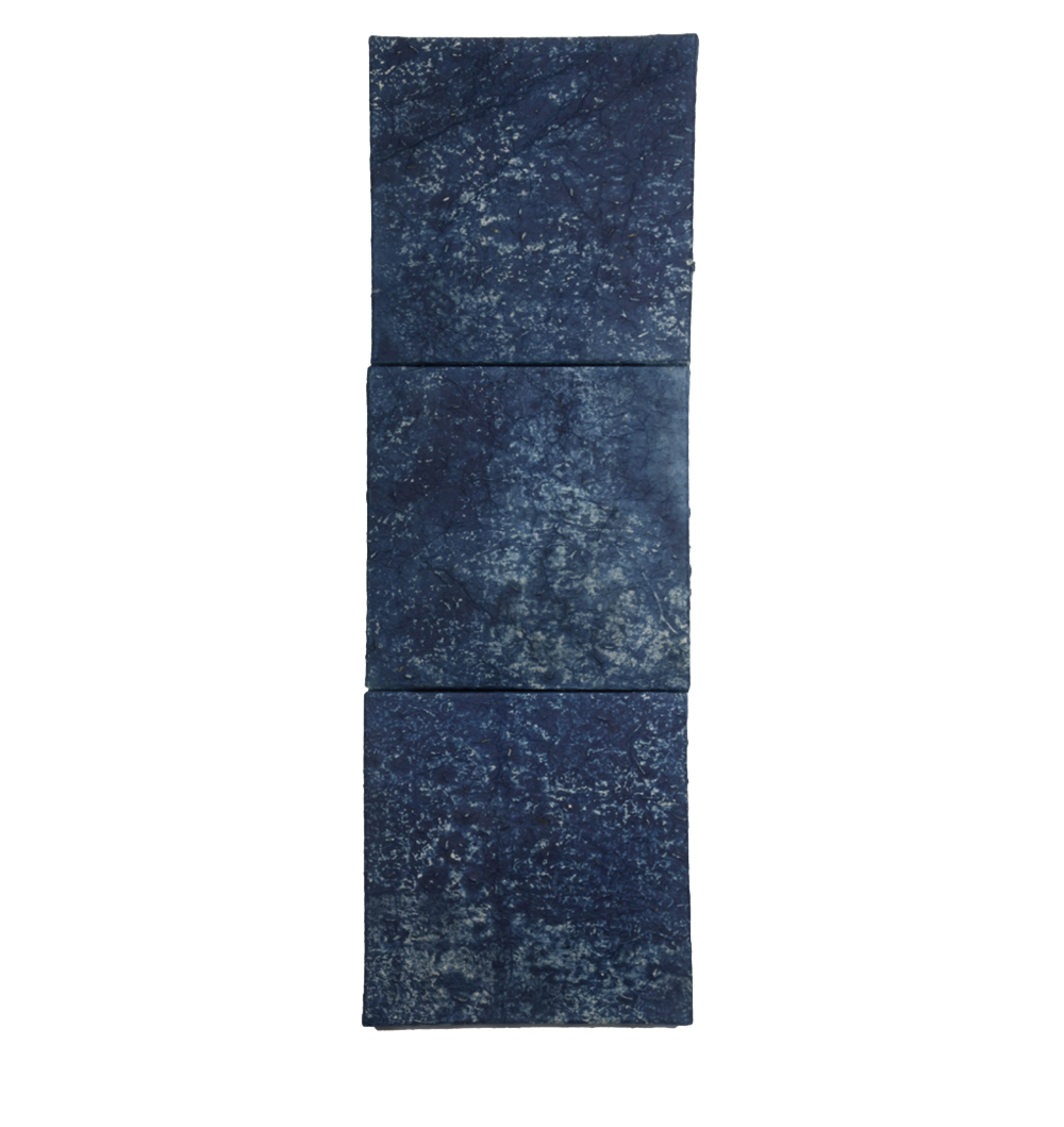 "Indigo: Alchemy of Spirit and Sorrow,  30"" x 10"", indigo dye, indigo pigment"