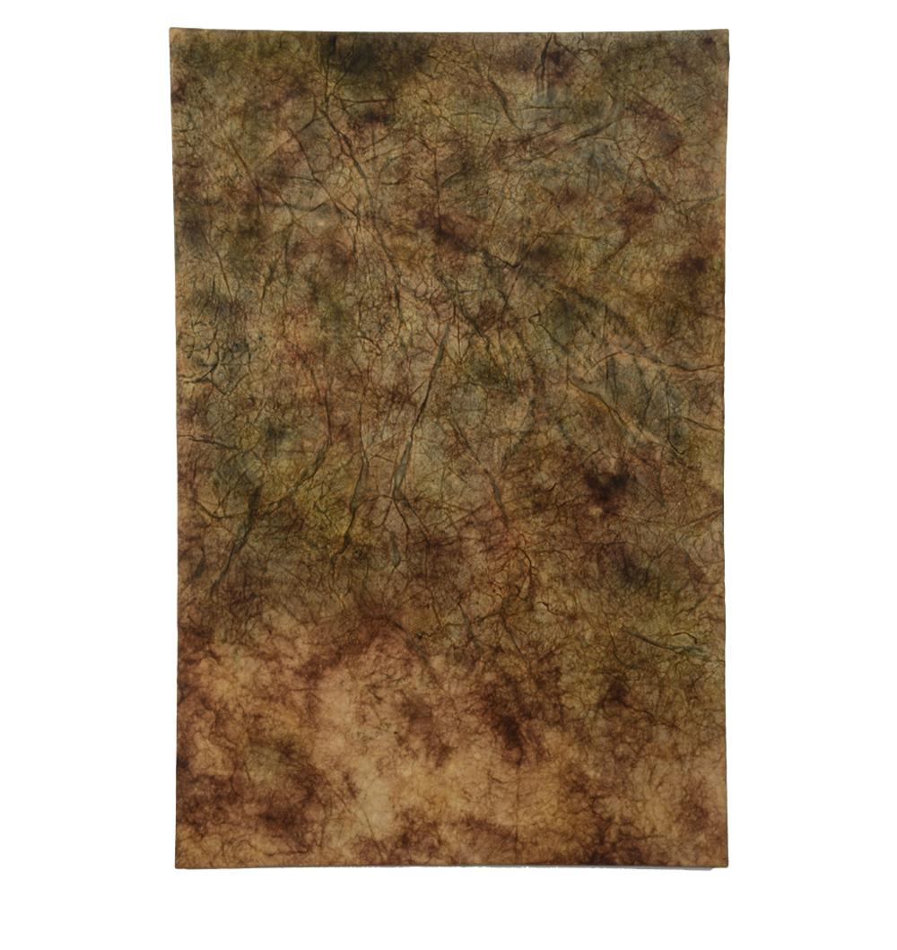 "Autumn Note , 36"" x 24"", ochre pigment, indigo pigment, beeswax"