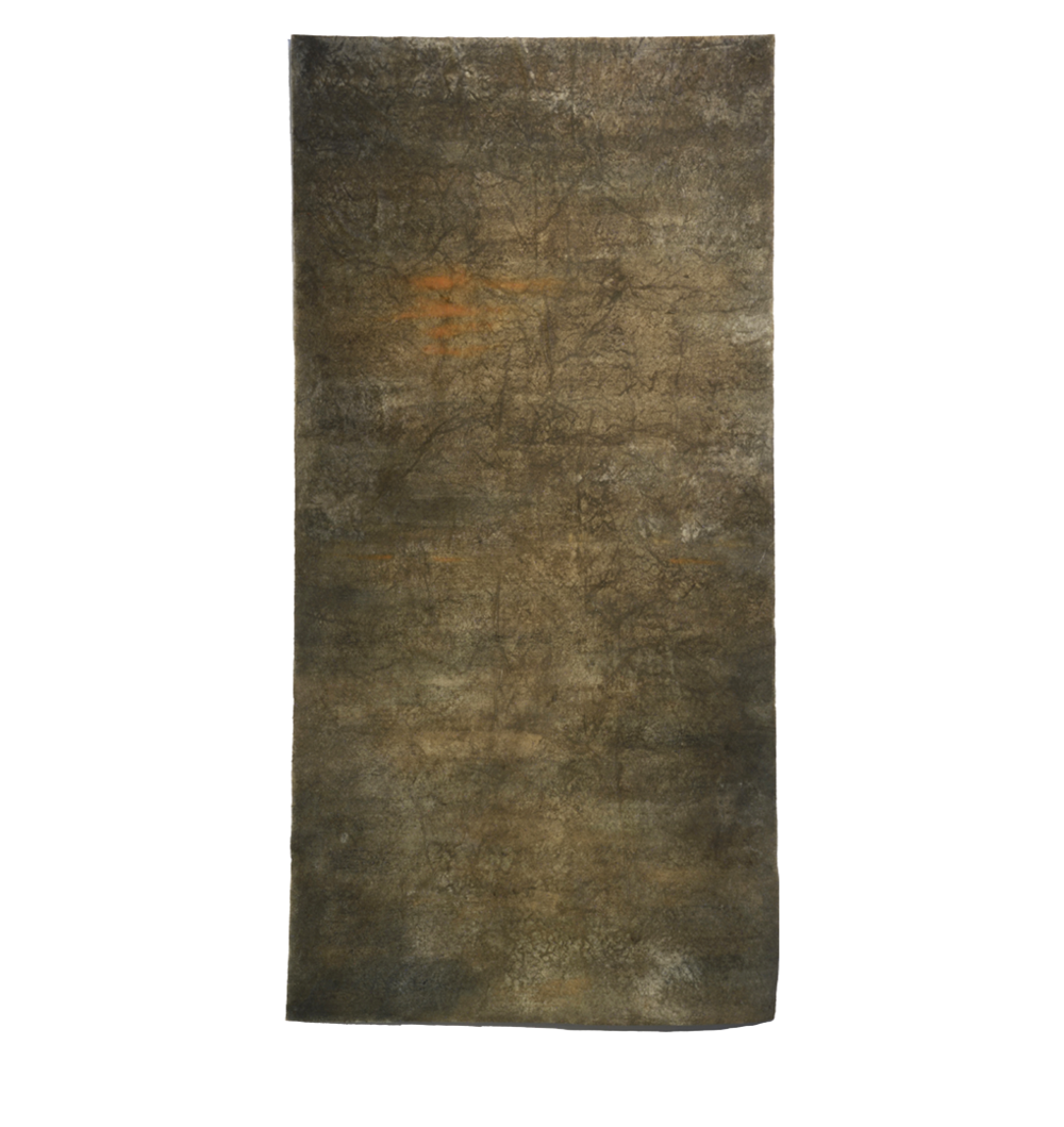 "Soil Sutra,  72"" x 36"", soil, indigo and ochre pigment, sea water"