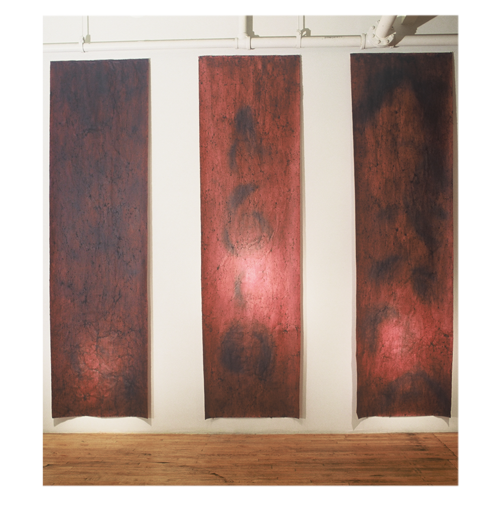"Untitled Triptych,   132"" x 36"" each panel, mulberry paper, albumen, blueberries"