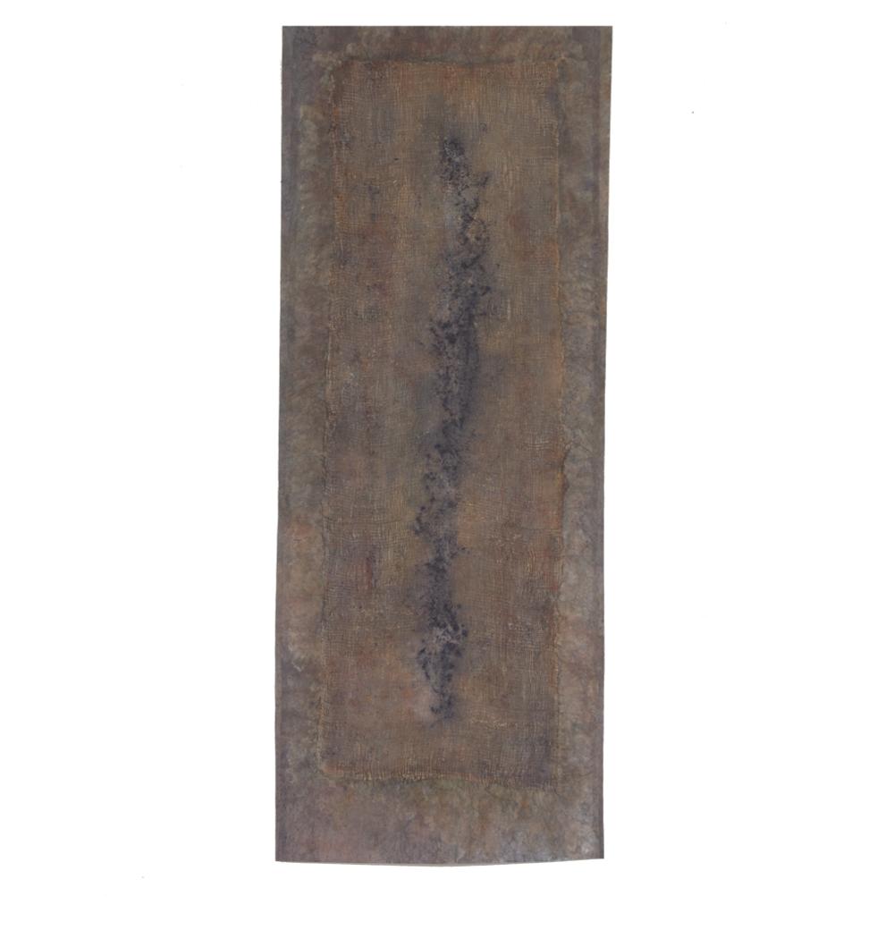 "Confine 2/Indigo Flame , earth and plant pigments, indigo, soil, & sea water, on paper, 24"" x 60"", 2018"