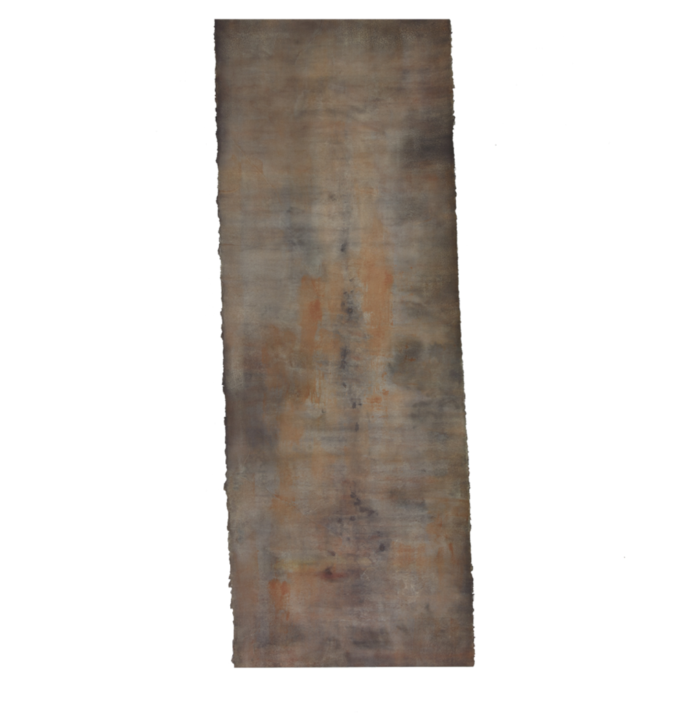 "Confine 1/Into the Fire , earth and plant pigments, indigo, soil, & sea water on paper, 26"" x 72"", 2018"