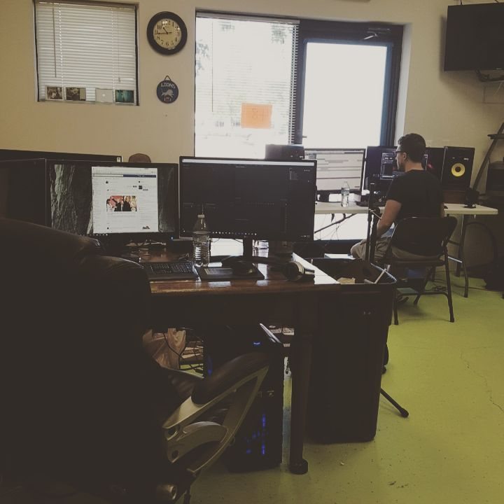 Raetzel hard at work in an audio lab.