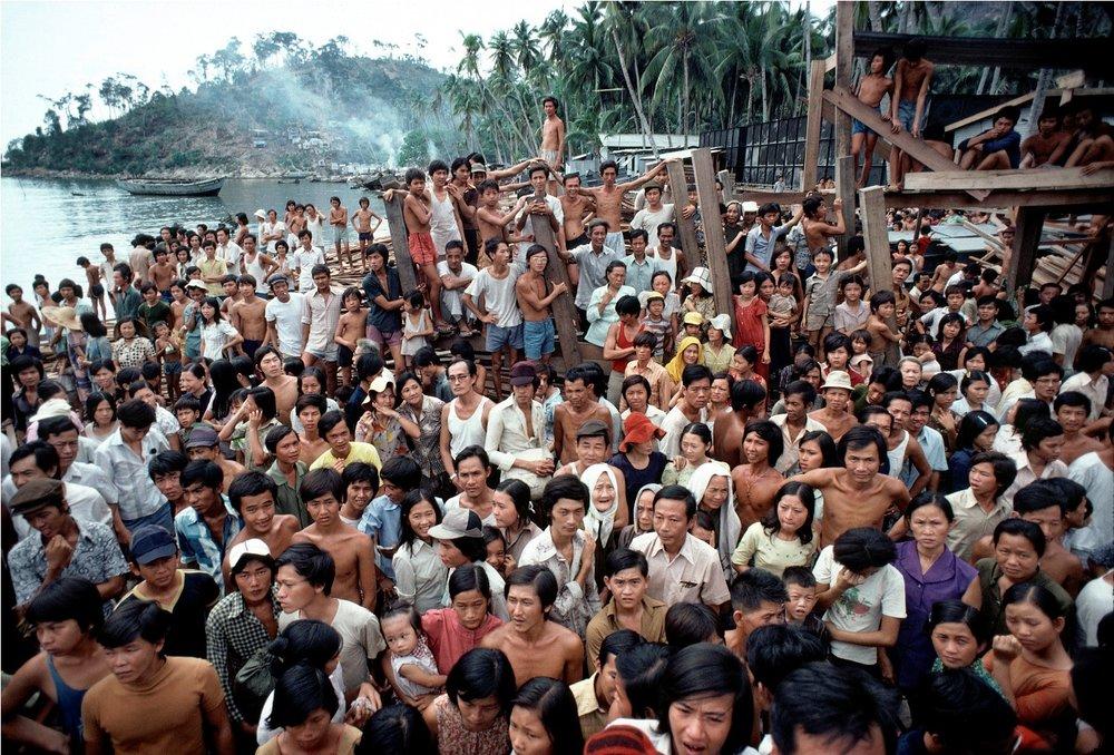 Refugee camp on Pulau Bidong in Malaysia, 1979.