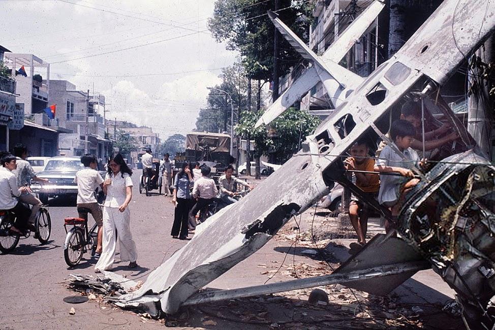VNAF aircraft shot down over Saigon, April 1975.