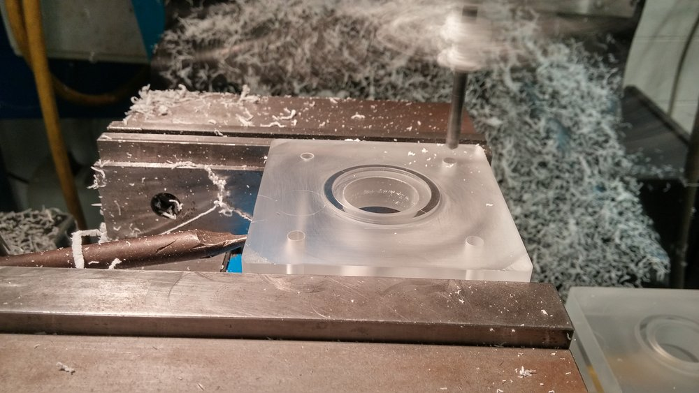 Drilling the mounting holes in one of the top blocks