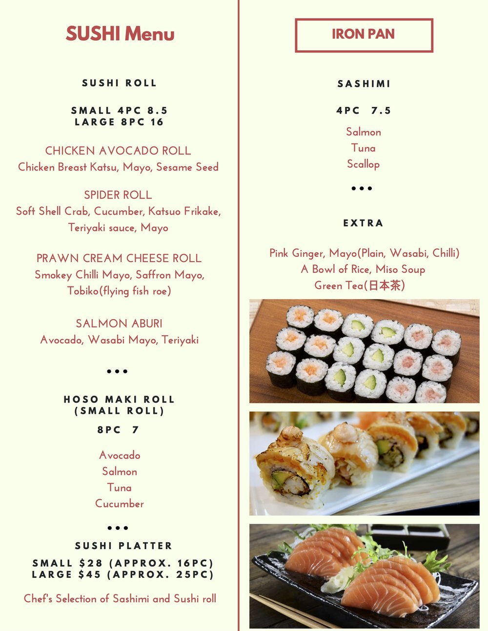 SUSHI MENU ONLY AVAILABLE FOR DINNER