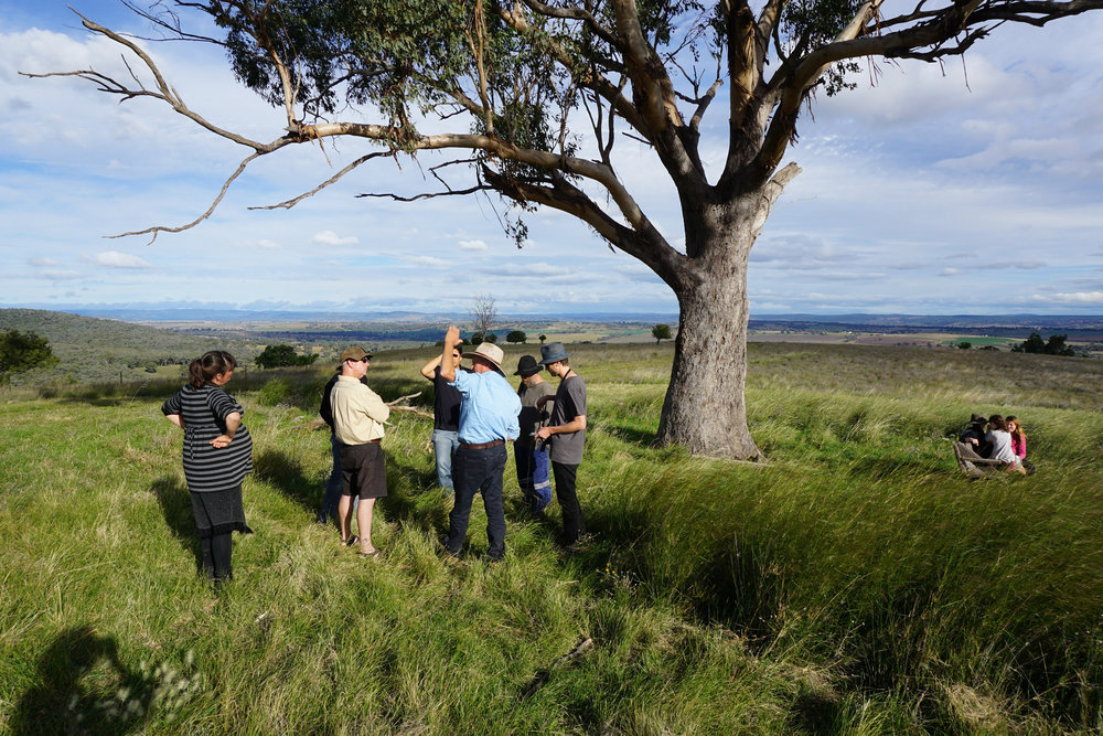 Glenn Morris and KSCA members at the highest point on Billabong, the property he manages.