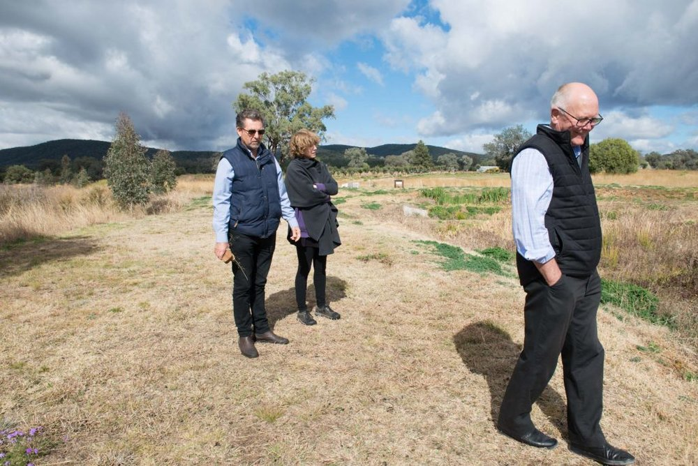 Rick Hutton, Laura Fisher, and Garry McDougal tour The Living Classroom. photo Alex Wisser