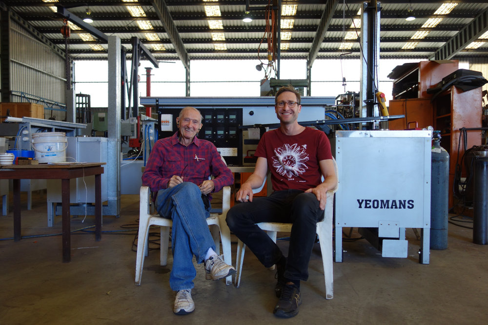 Allan Yeomans and Lucas Ihlein in front of the Yeomans Carbon Still, August 2018. Photo by Sam Doyon.