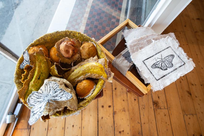 Gilbert Grace's  Hemp Initiative,  includes this work,  Vanitas,  made completely of reclaimed hemp paper.
