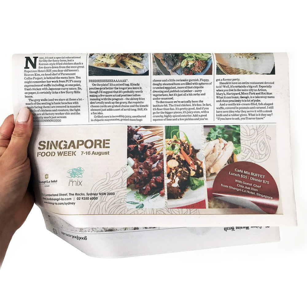 - Singapore Food Week Sydney Morning HeraldGood Food Strip ADShangri-La Hotel, Sydney