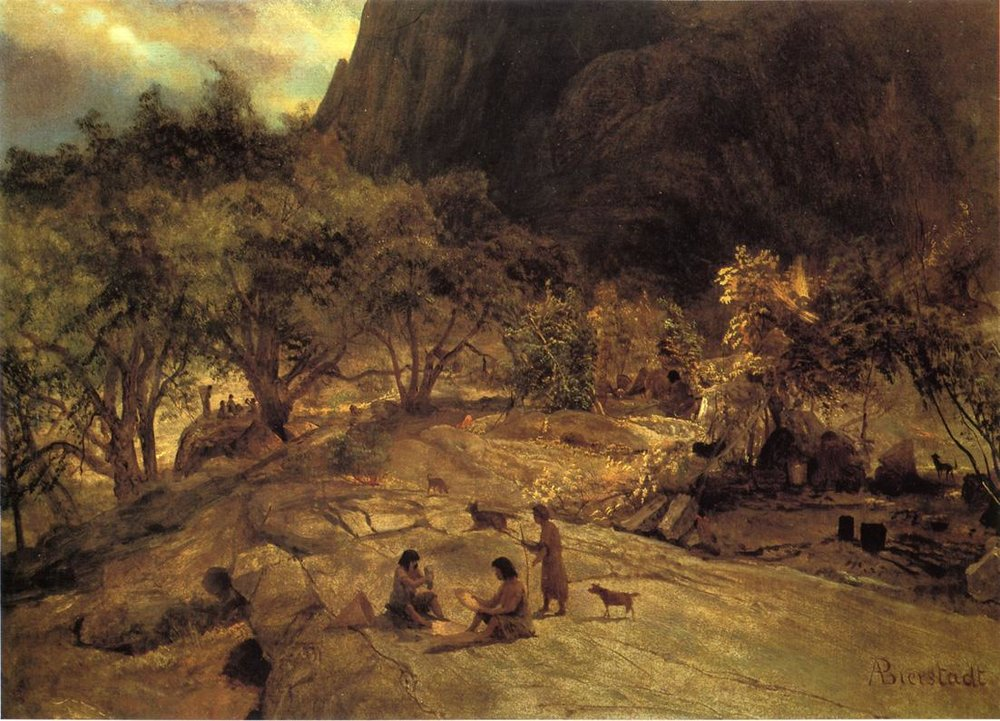 "Albert Bierstadt ""Mariposa Indian Encampment"" Yosemite, 1872"