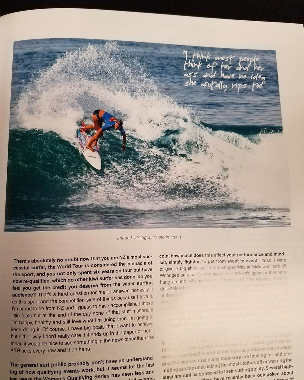 Crappy photo of my image from my phone. (New Zealand Surfing Magazine, Jan/Feb 2018)