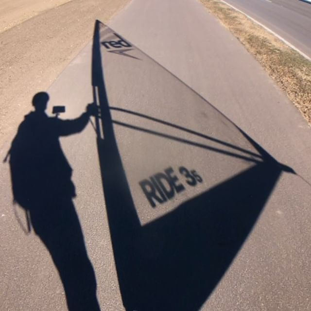 Some warm weather, a bit of wind...had @surfer_jonny compelled to windsurf a bit of pavement! Any longboard will work, and the #redpaddleco windsurf rig works equally well on water as it does on the pavement! Stop by the shop to learn more. #exploreyxe #windycity