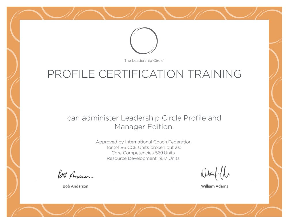 C1 Certificate The Leadership Circle Asia Pacific