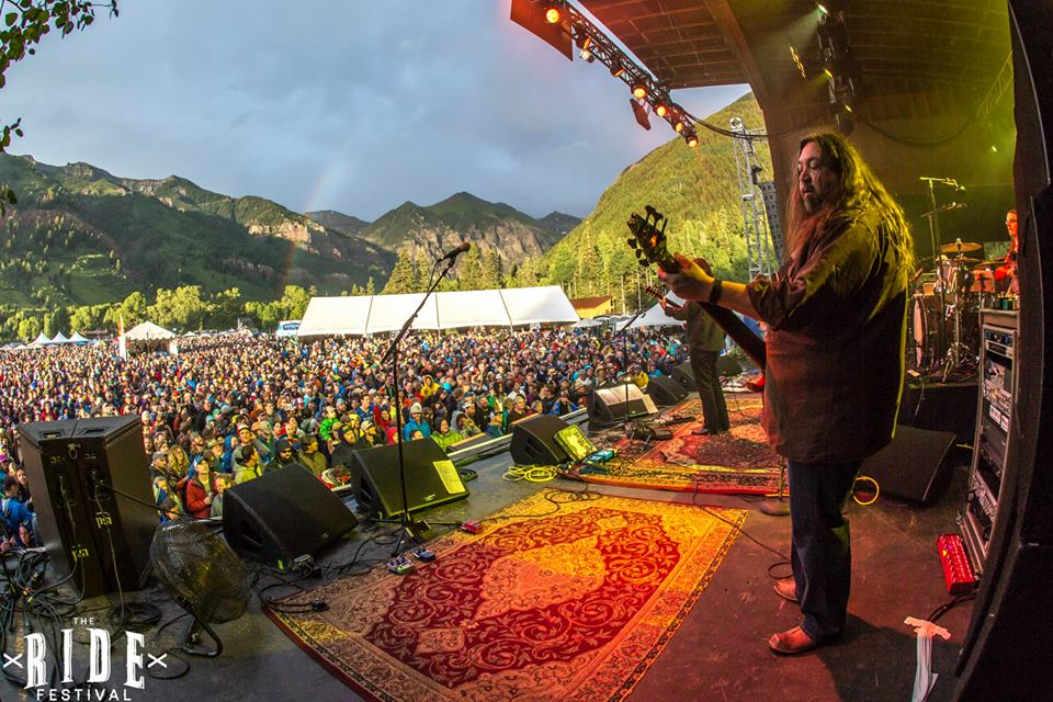 Dave Schools of Widespread Panic performing in 2015