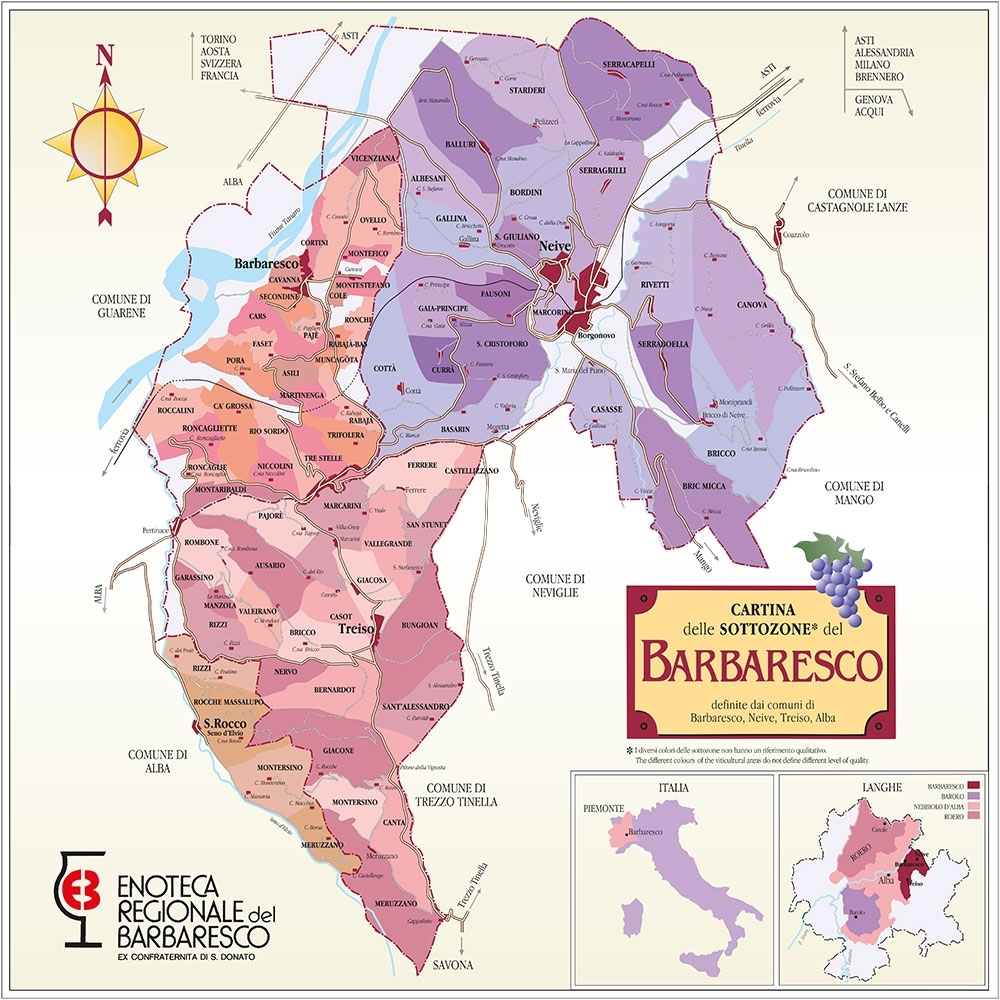 Langhe Italy Map.Vineyards Rizzi Vinery In Treiso Piedmont Wine Italian Barbaresco