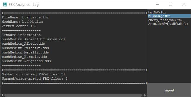 FBX-Analytics interface