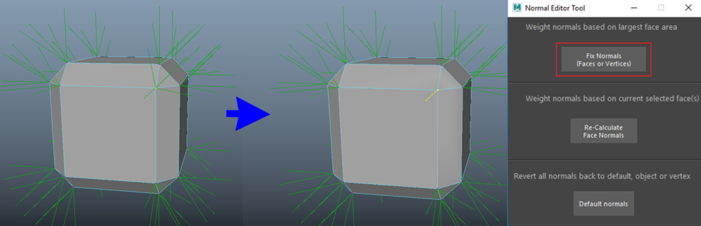 Fixing a vertex normal by measuring the area of its connected faces