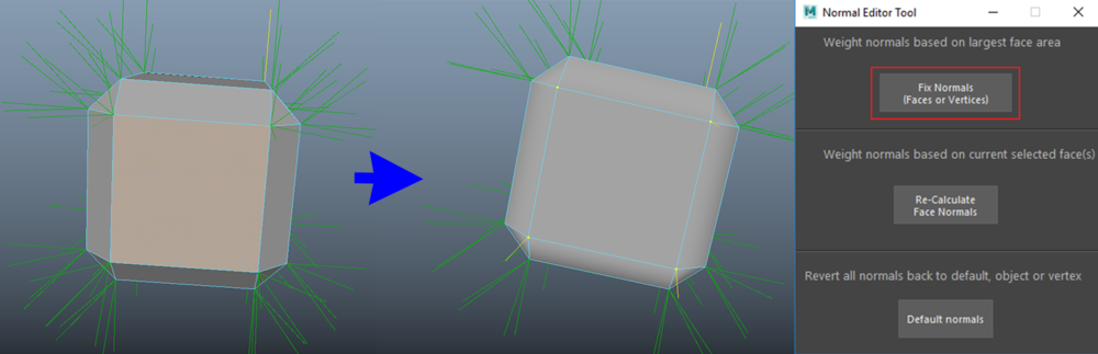 Fixing all vertices which belongs to the selected face by measuring the area of all of their respective connected faces