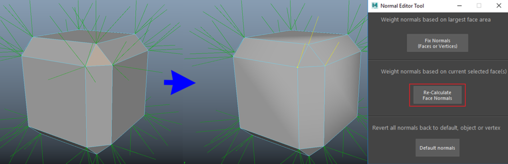 Setting the vertices of the selected face to have the same normals as the face