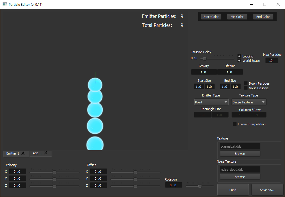 Interface of the Particle editor, UI file was made with QT Designer and implemented with the QT C++ API