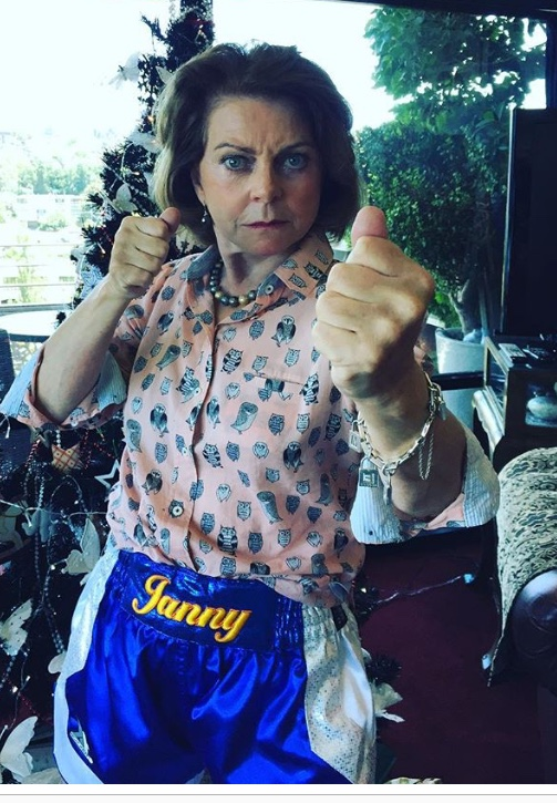 """This is Jan, 68 year old loving grandmother and lovingly dubbed """"The Baddest Bitch in Richmond"""" (by me). She can punch alright. Wearing a gift from her grandkids, personalised boxing shorts. Legend!"""