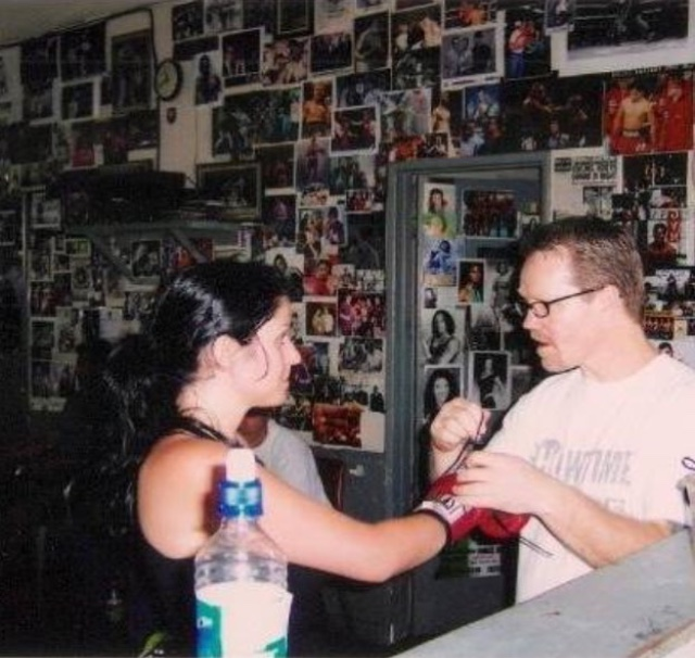 Tonia with trainer of world champion Manny Pacquiao: the legend himself, Freddie Roach at Wild Card Boxing Club, USA.