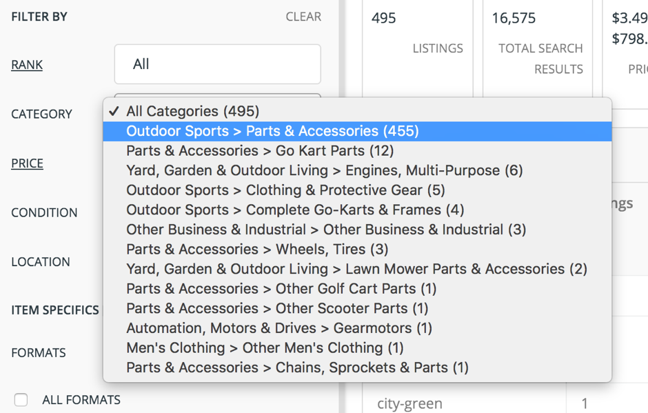 The category filter on the left reveals how the listings are distributed across all the lower level sub-categories.