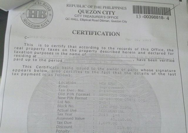 TAX RECORD. Certification from the Quezon City treasurer's office shows real property tax records for 36 Tandang Sora in the name of the Hemedez couple. Photo obtained by Rappler