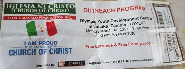 Online publication Mwebantu shared a picture of a ticket that was reportedly distributed for the gathering in the Zambian capital, Lusaka