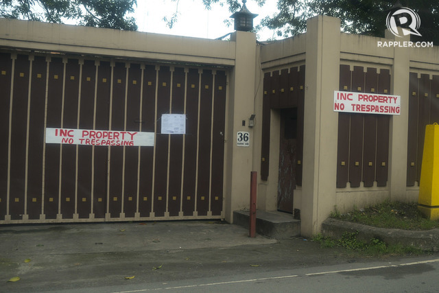 PROHIBITION. A 'No Tresspassing' sign is seen outside 36 Tandang Sora, where the siblings of INC leader Eduardo Manalo are currently staying. Photo by Jansen Romero/Rappler