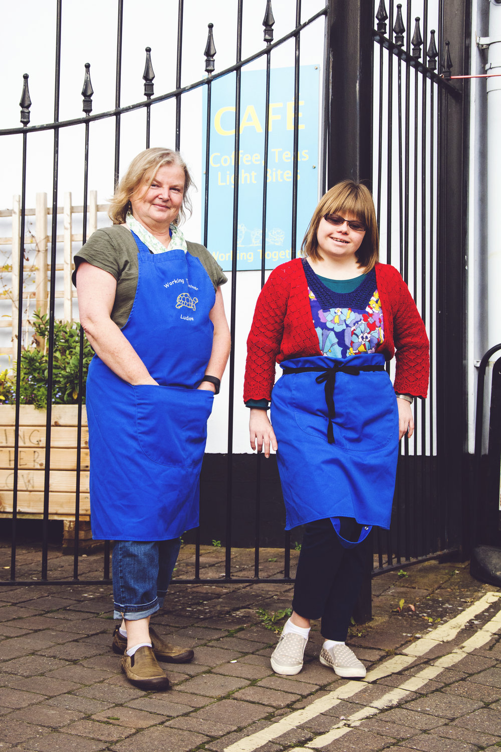 Nicola and Steph outside The Working Together Cafe, Ludlow copyright Ashleigh Cadet