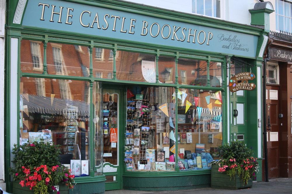 The colourful Shopfront o The Castle Bookshop, 5 Castle Street,Ludlow