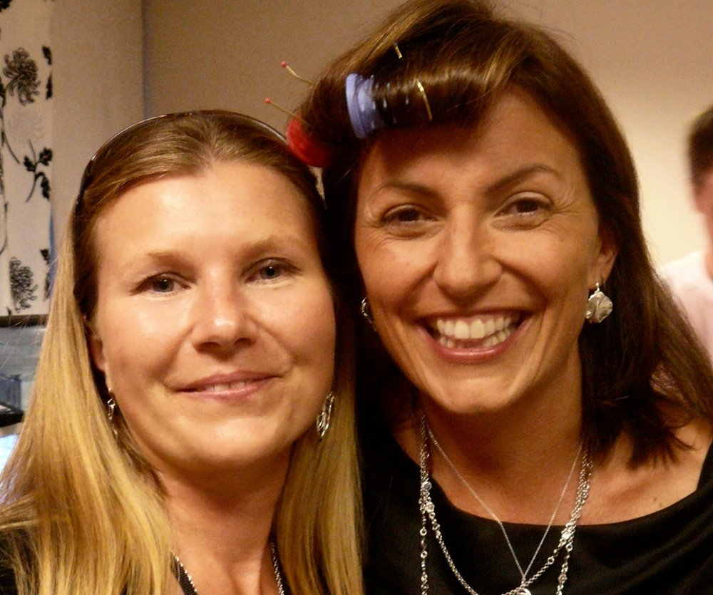 Lisa Anne with Davina McCall wearing Angel Wings earrings copyright La Jewellery
