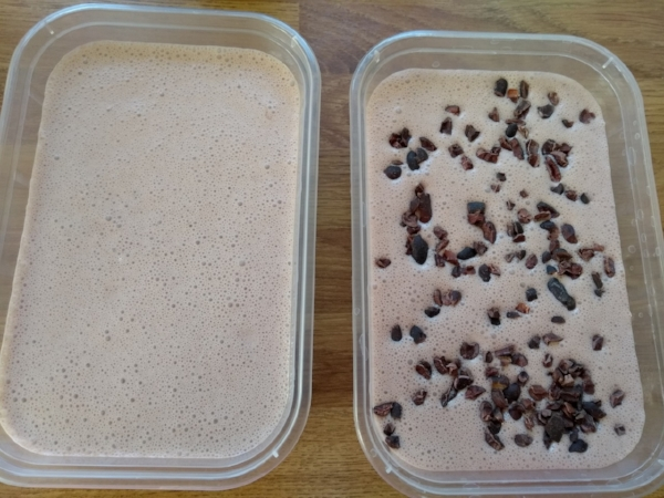 Divide mixture into two tubs source: broad bean