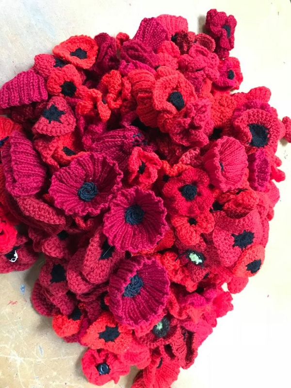 Knitted and crocheted poppies created by hand by the Knit and Natter ladies
