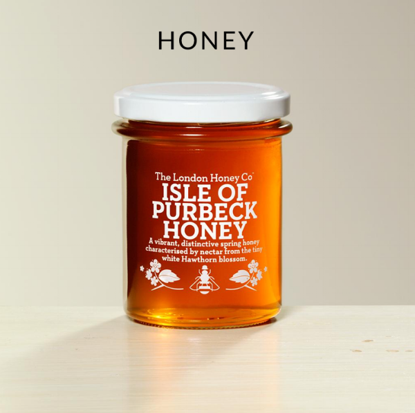 A golden jar of London Honey Company 'Isle of Purbeck'