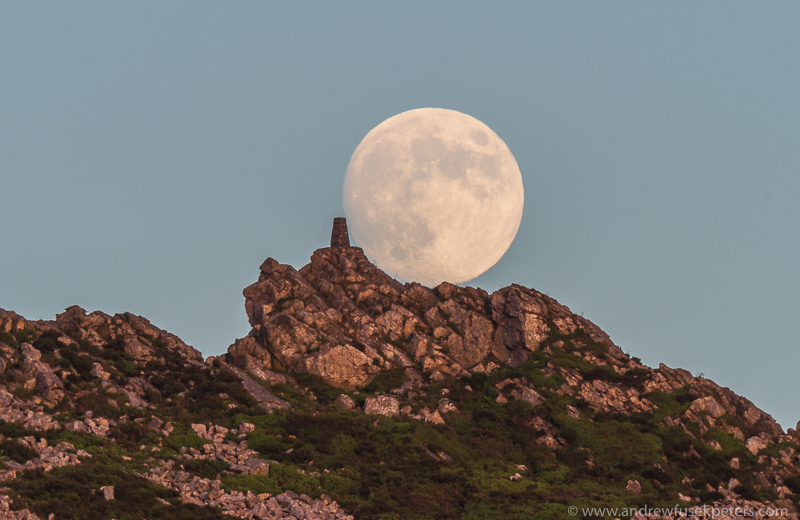 Getting closer: Moon over Manstone Rock photo: andrew fusek peters