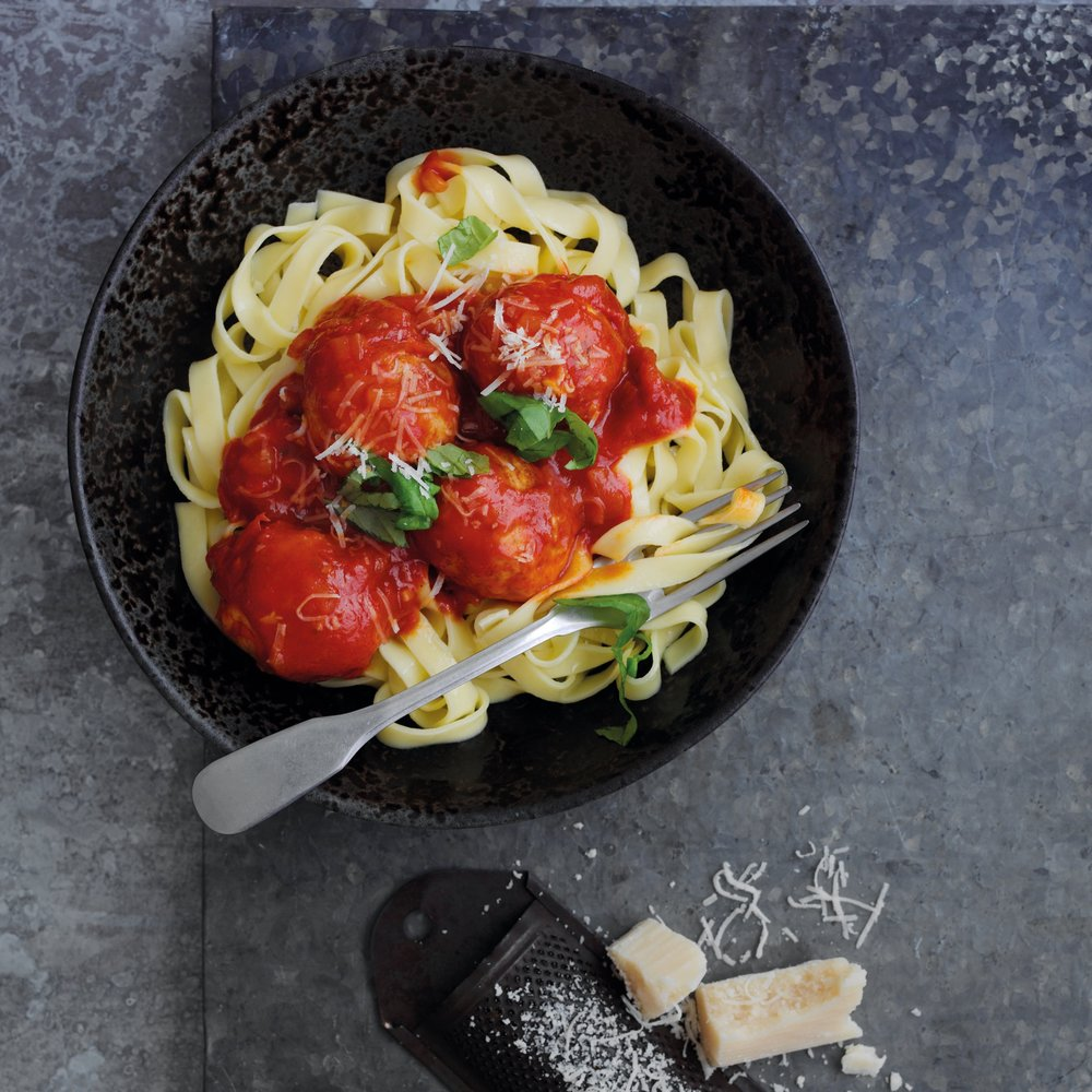 Pheasant meatballs with green olives, sun-dried tomatoes, herbs & tagliatelle pasta Source: Game Larder