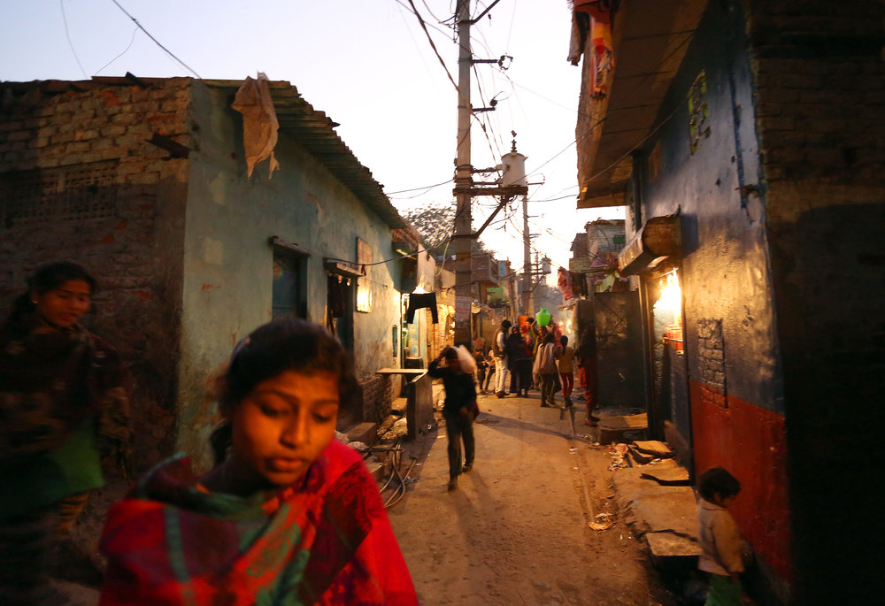General view of the Kathputli slum colony of New Delhi, India, December 10th, 2014. 40,000 people live in the slum, speaking 11 different languages, which is popularly known for being the worlds largest colony of street performers, including magicians, snake charmers, acrobats, singers, dancers, actors, traditional healers and musicians and puppeteers. Their livelihood is under threat however as the Delhi government has obtained contracts to demolish the colony to make way for developers to build high-rise apartments.