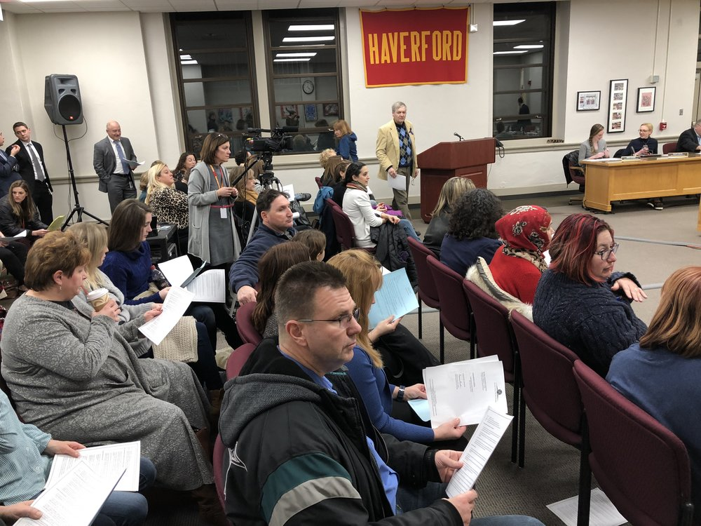 H-CAN members packed the Haverford Township school board meeting asking for a school policy change to protect immigrants on February 1, 2018.